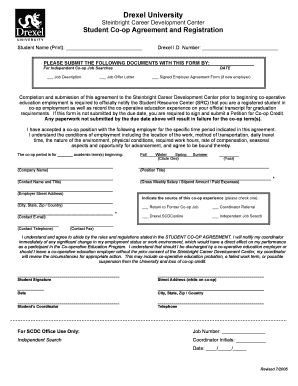 drexel independent coop employer agreement form