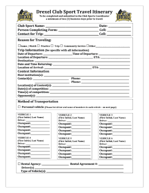 87 printable travel itinerary template forms fillable samples in