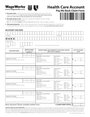 Fillable Online hr duke Health Care Reimbursement Account Claim Form