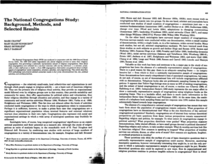 The National Congregations Study: Background, Methods, and ... - soc duke