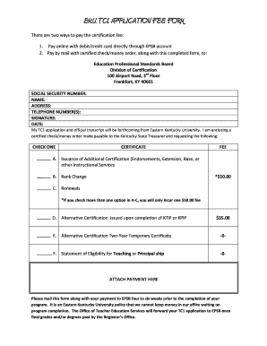EKU TC1 APPLICATION FEE FORM - College of Education Teacher ...