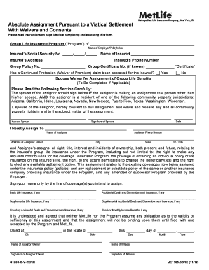 Metlife Absolute Assignment Form Fill Online Printable Fillable