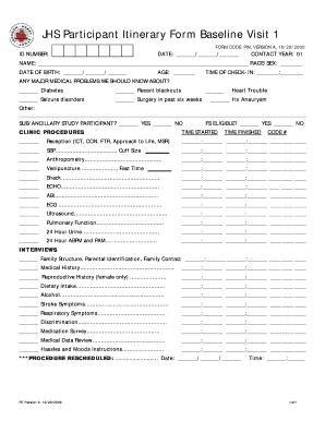 fillable online cscc unc jhs participant itinerary form baseline
