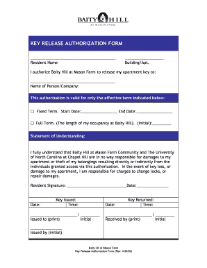 Fillable Online KEY RELEASE AUTHORIZATION FORM - Baity Hill ...