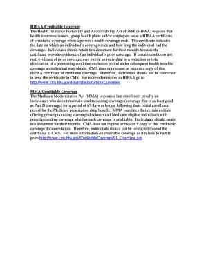 HIPAA Creditable Coverage