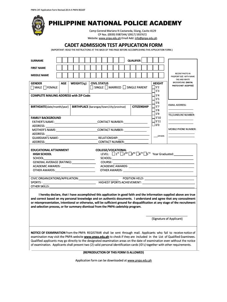 2014-2019 Form PH PNPA CAT Application Fill Online