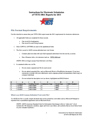 Vets 100 Fillable Form For 2012 Data - Fill Online, Printable ...