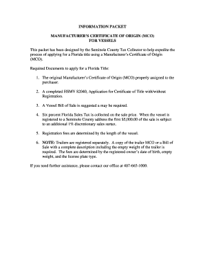 Certificate Of Origin Form Florida  Blank Certificate Of Origin Form
