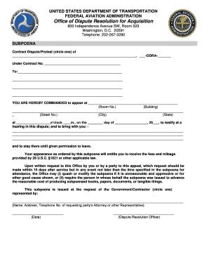 Fillable Online faa ODRA Subpoena model form pdf - Federal Aviation