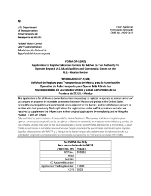 Fillable online fmcsa dot form op 1 mx federal motor for Federal motor carrier safety regulations pdf