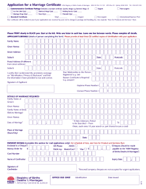 Fillable marriage certificate nsw - Edit, Print & Download Templates