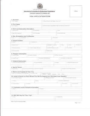 filable dominican republic visa form