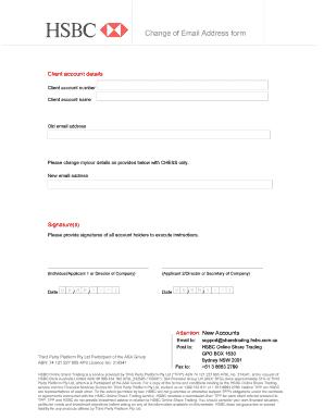 hsbc bank change of address form
