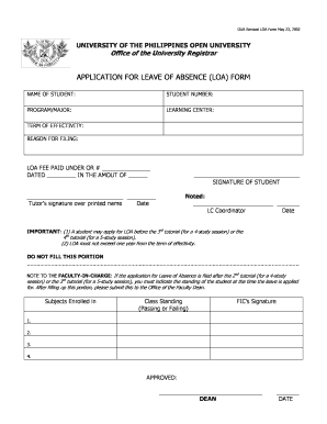 Loa Form - Fill Online, Printable, Fillable, Blank | PDFfiller
