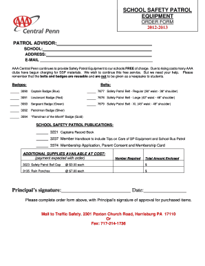 Aaa School Safety Patrol Order Form - Fill Online, Printable ...