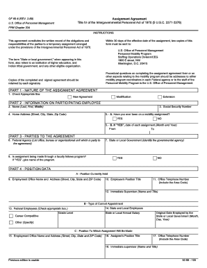 assignment agreement title iv intergovernmental personnel act instructions form