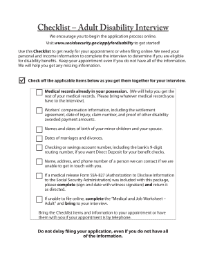 Checklist Adult Disability Interview. Fiscal Year 2012 Conference  Information Table