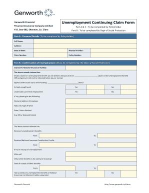 Genworth Continuing Unemployment Claim Form - Fill Online ...