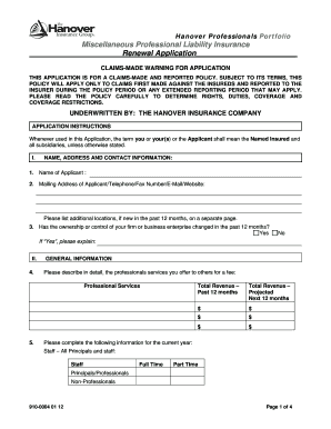 hanover miscellaneous professional form