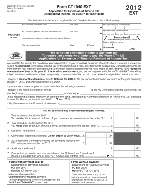 Ct1040ext - Fill Online, Printable, Fillable, Blank | PDFfiller