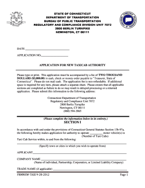 Fillable Online Ct Taxicab Certificate Application New Service