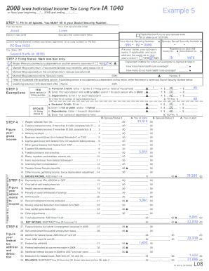 Fillable Online iowa 2008 Iowa Individual Income Tax Long Form IA ...