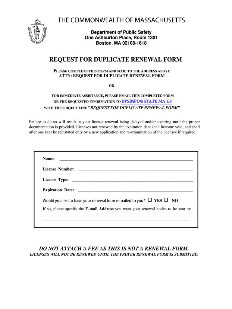 Ma Renewal Form - Fill Online, Printable, Fillable, Blank