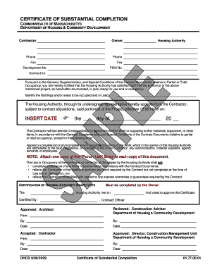 Substantial Completion Certificate Form - Fill Online, Printable ...