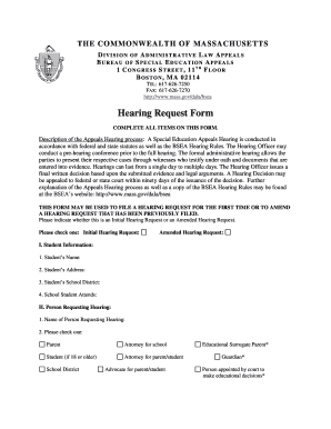 Bsea Hearing Request - Fill Online, Printable, Fillable, Blank ...