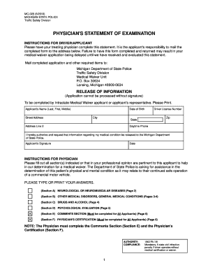 Physicians Statement Of Examination Mi Dept State - Fill