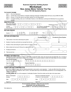 Worksheet- New Jersey Motor Vehicle Tire Fee (Form TIR-100 Quarterly Return). Worksheet- New Jersey Motor Vehicle Tire Fee (Form TIR-100 Quarterly Return) - state nj