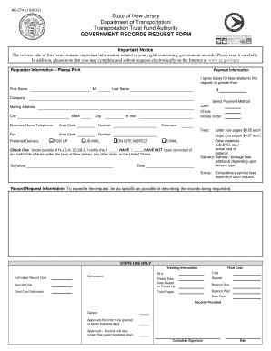 Fillable Online state nj OPRA REQUEST FORM - State of New Jersey ...