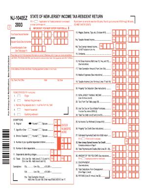 Nj 1040ez - Fill Online, Printable, Fillable, Blank | PDFfiller