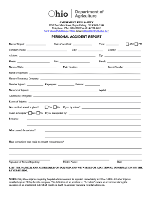 Bill Of Sale Form Ohio Accident Report Templates - Fillable