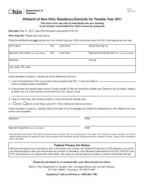 Fillable Ohio Affidavit Of Non Residency - Fill Online, Printable ...