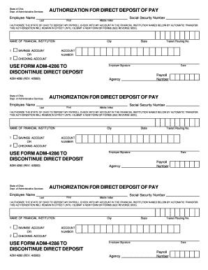 Fillable Online Authorization for direct deposit of pay use form adm