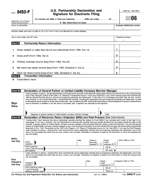 Form 8453 Pe Fillable Online 2006 Form 8453 P Fill In Capable U S ...