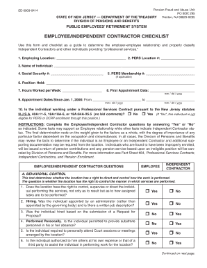 fillable online state nj employee independent contractor checklist