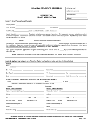 oklahoma residential lease application form