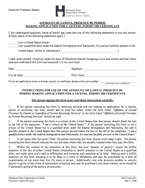 oklahoma city affidavit for legal residence form