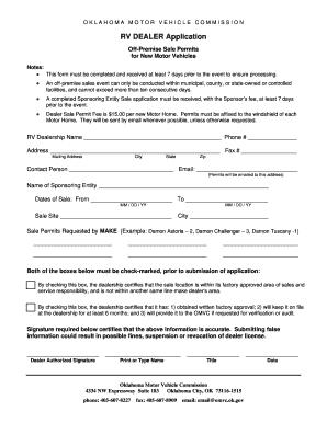 Oklahoma Used Car Dealer License Application