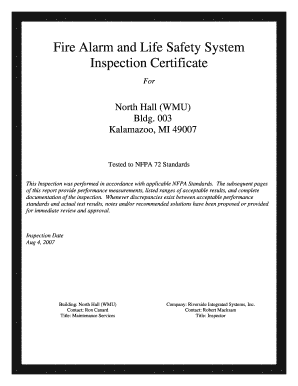 Nfpa 72 2007 Fillable Inspection Form - Fill Online, Printable ...