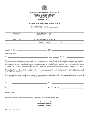 Tennessee intrastate renewal fill online printable for Motor carrier permit renewal application