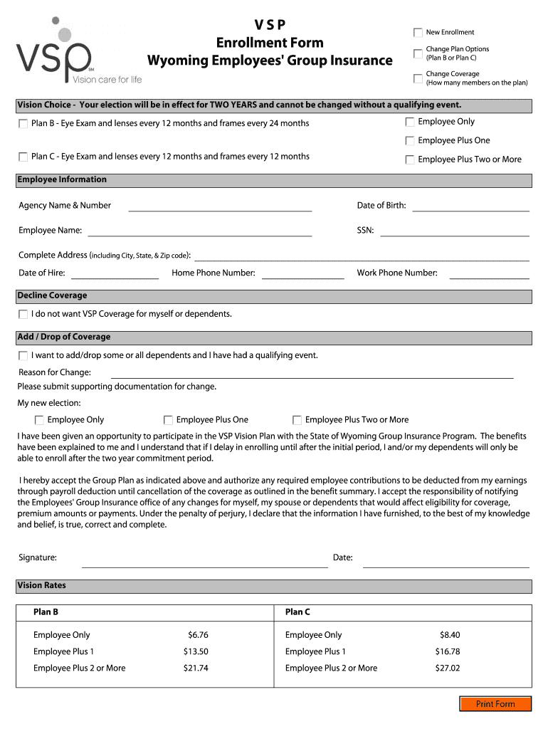 Vsp Enrollment Forms