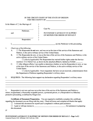 Bill Of Sale Form Oregon Petitioners Motion For Default Order And ...