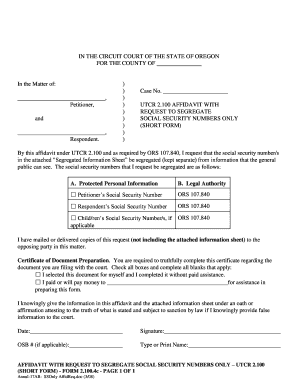 utcr 2100 affidavit oregon form