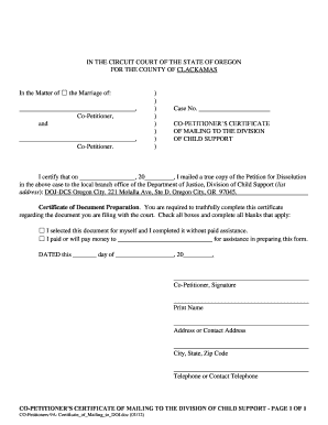 CO-PETITIONERS CERTIFICATE - courts oregon