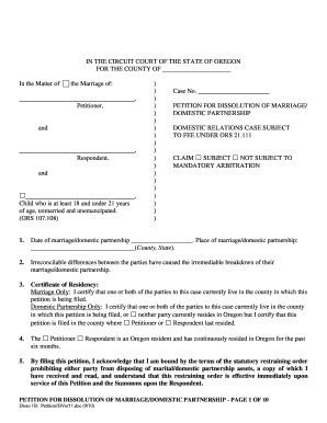 State of oregon dessilution of marriage fillable form
