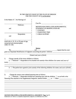 stipulated supplemental petition for modification form
