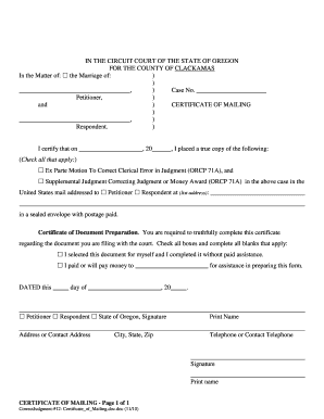Bill Of Sale Form Oregon Respondents Certificate Of Mailing Form ...